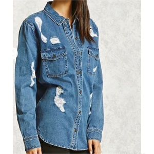 Forever 21 Denim Distressed Button Down Shirt